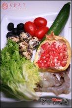 石榴鹌鹑蛋鲜虾沙拉图解