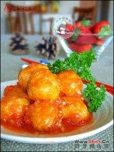 茄汁煨金球图解