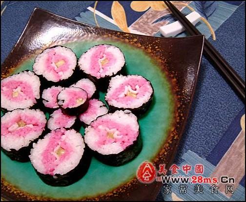 桃色苋菜寿司图解的做法