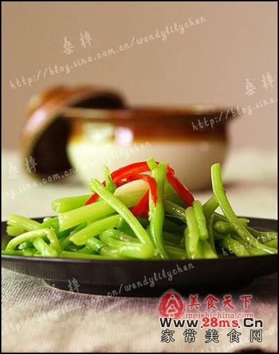 苋菜二做:清炒苋菜梗&上汤苋菜