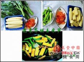 泡菜芥梗玉米笋图解