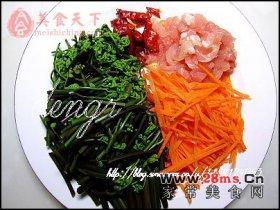 蕨菜炒肉丝图解