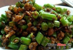 榄菜肉末豇豆图解