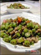 榄菜肉末炒豆角图解