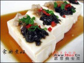榄菜肉松蒸豆腐图解