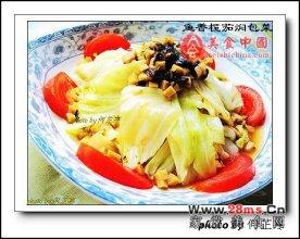 鱼香榄茄焖包菜图解