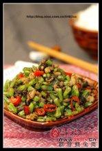 榄菜肉沫四季豆图解