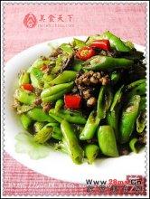榄菜肉末炒四季豆图解