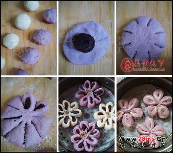 教您菊花包+梅花馒头图解的家常做法,如何做菊花包+梅花馒头图解才好吃   1、面粉分成两份,一份加入蒸熟捣烂的紫薯泥,一份加入适量的水,分别加入干酵母后揉成面团,放在温暖处发酵。梅花馒头;   2、发酵好的两份面团,分成三份,比例为紫薯面团2:白面团1:紫薯面团0.
