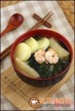 日式鲜虾味增汤图解