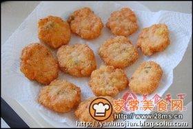 椰香玉米虾饼图解