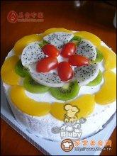 简单的鲜果奶油蛋糕图