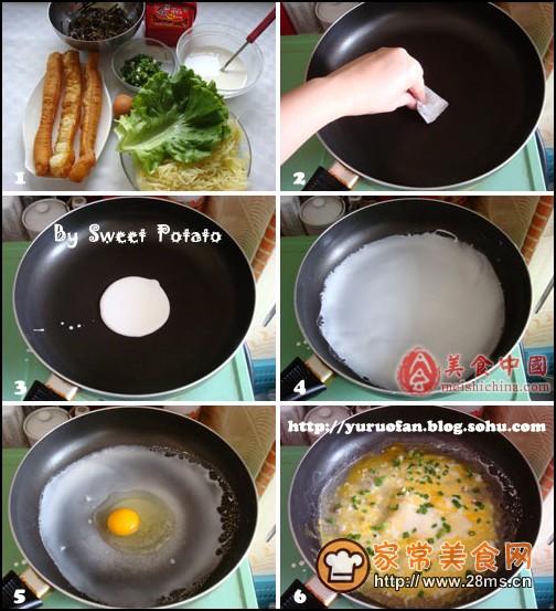 1、平底锅内擦薄薄的一层油,盛一勺面糊倒入锅内,旋转锅面使面糊均匀流动糊满锅面,然后点火用最最小火煎半分钟后打入一粒鸡蛋划散,在鸡蛋液上撒上少许葱花,待蛋液稍凝固后刷上一层大酱,然后依次放入生菜、油条、海带丝、土豆丝和咸菜等,将其卷起来即可     2、面糊的教您南京版煎饼果子图解的家常做法,如何做南京版煎饼果子图解才好吃混合绿豆粉和面粉,然后一点点倒入清水调合均匀为流动性的面糊   3、土豆丝的教您南京版煎饼果子图解的家常做法,如何做南京版煎饼果子图解才好吃炒锅内倒入适量油烧热,然后放入土豆丝翻炒2