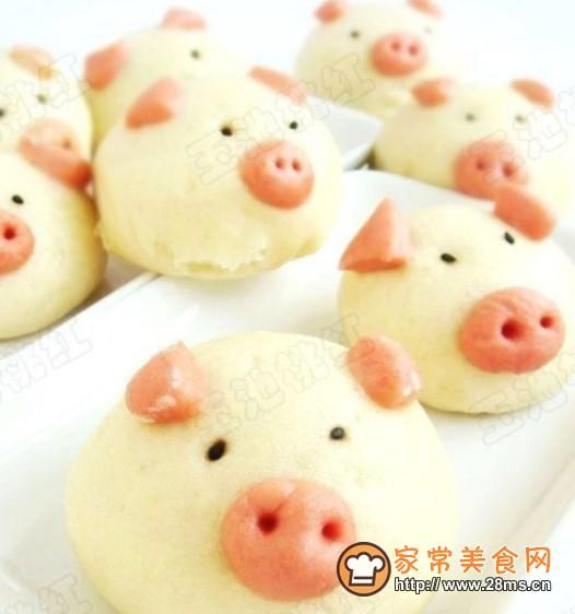 可爱的小猪豆沙包的做法