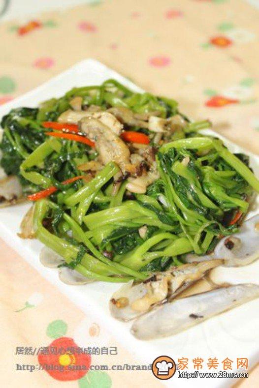 蛏子鱼露炒通菜的做法