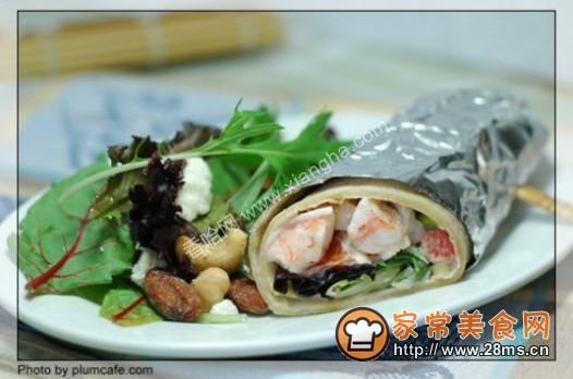 虾仁西红柿卷饼的做法