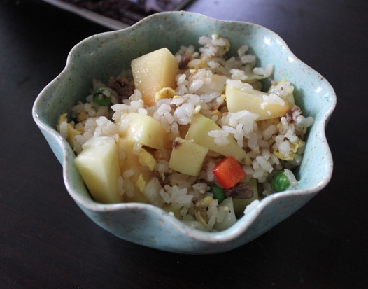 青木瓜炒饭。的做法