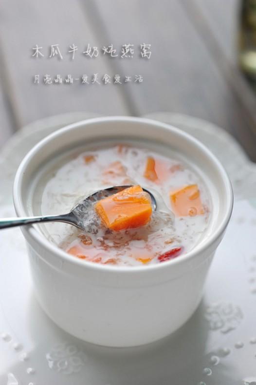 木瓜牛奶炖燕窝的做法
