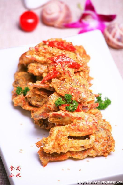 蛋黄�h螃蟹的做法