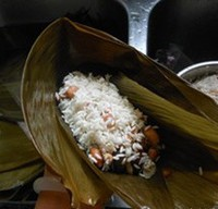 瑶柱花生蛋黄粽的做法步骤12