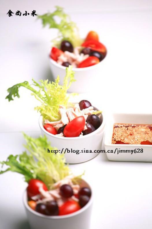 葡萄圣女果鸡丝沙拉的做法