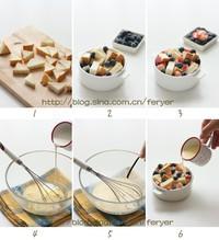 蓝莓桃子面包布丁的做法步骤1