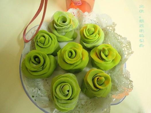 绿玫瑰馒头的做法