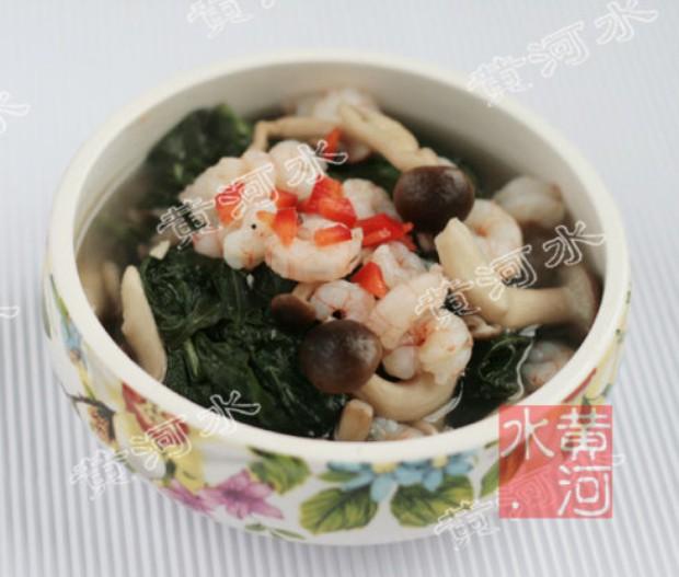 虾仁鸡汤煮红薯叶的做法