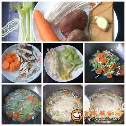 香菇 豆腐干/1、香菇切片;豆腐干切丝;胡萝卜去皮切片;