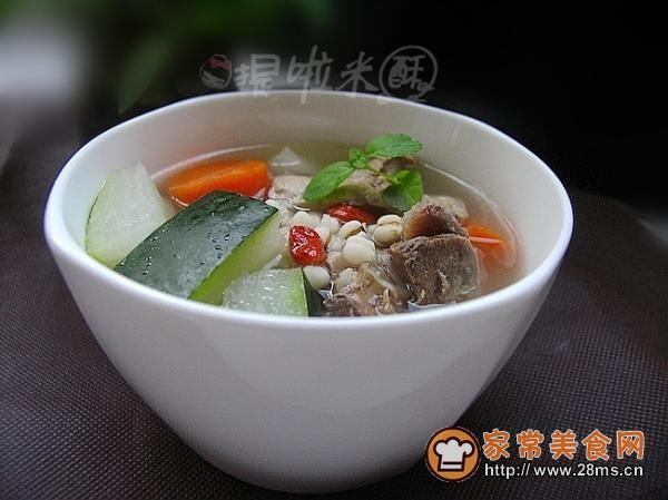 薏米冬瓜排骨汤的冬瓜_做薏米做法排骨汤买的熟羊肝怎么吃好吃图片