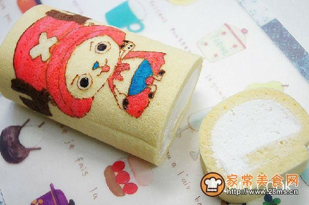 海贼王乔巴彩绘蛋糕卷的做法