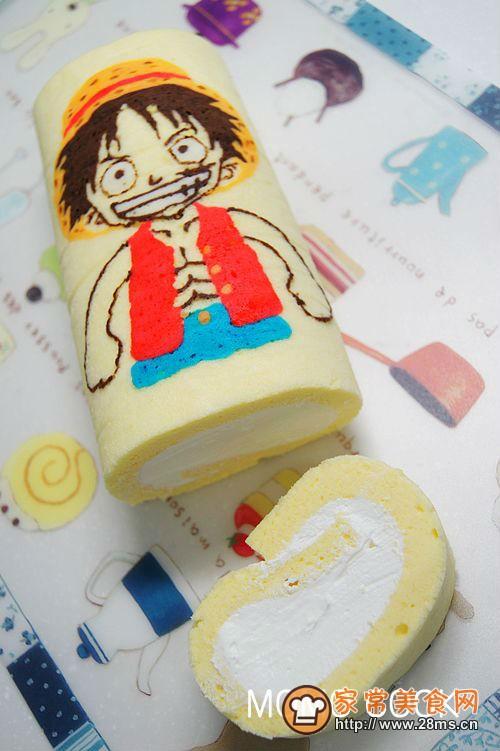 海贼王路飞彩绘蛋糕卷的做法