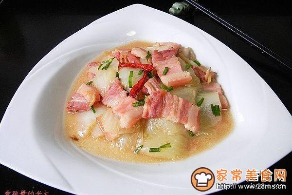 咸肉片炒白菜帮子的做法