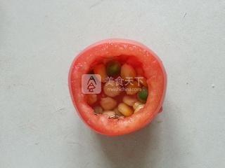茶香虾仁番茄盅的做法步骤:6
