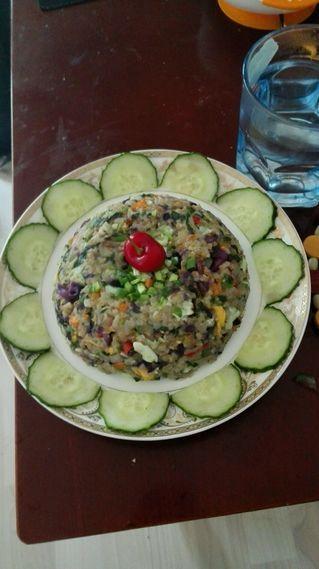 五彩时蔬蛋炒饭的做法步骤:6