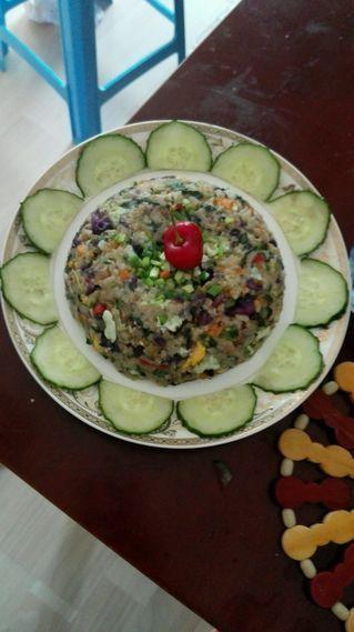 五彩时蔬蛋炒饭的做法步骤:8