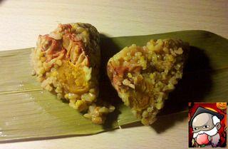 叉烧蛋黄粽的做法步骤:8