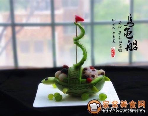 香瓜乌龟船水果盘的做法