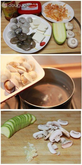 韩式泡菜海鲜锅的做法图解1