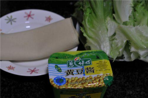 豆皮生菜卷的做法图解1