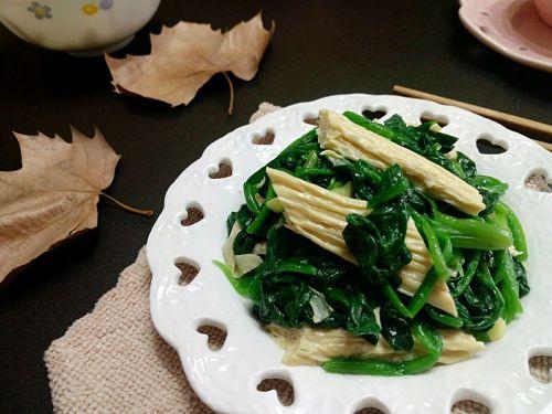 腐竹拌菠菜的做法图解5