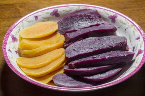 玉米发面紫薯饼的做法图解1