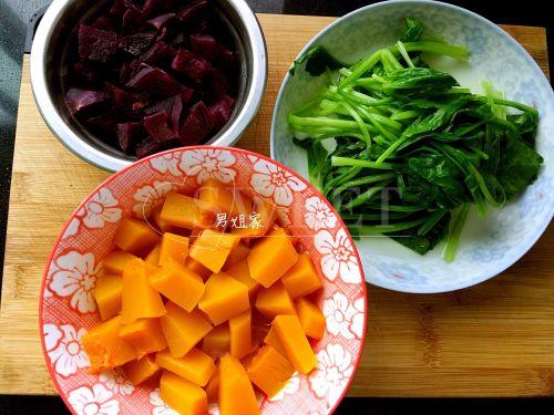 三色蔬菜发糕的做法图解1