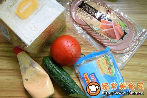 芝士火腿三明治的做法图解1