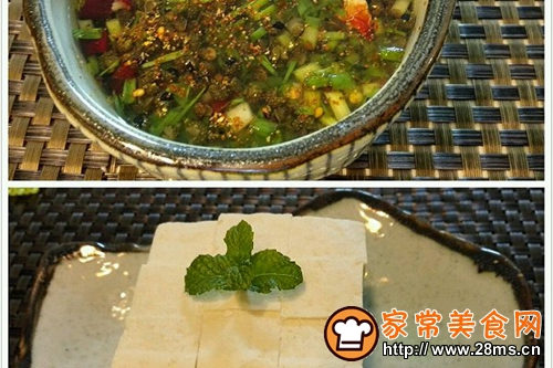 自制白豆腐蘸自制酱汁