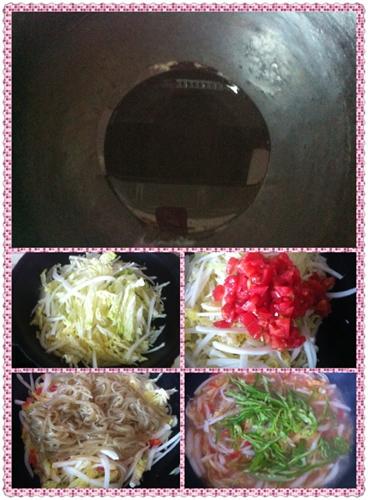 白菜炒粉条的做法图解3