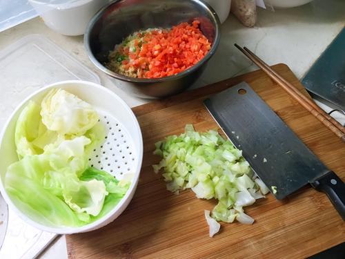 孕妇食谱  蔬菜猪肉蒸饺的做法图解3