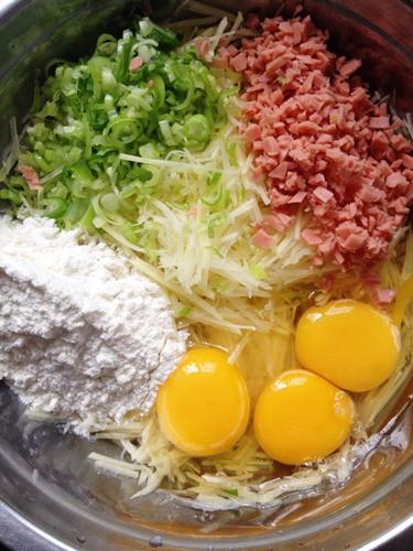 金黄土豆鸡蛋饼的做法图解1
