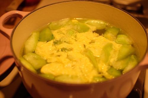 咸菜丝瓜蛋汤的做法图解4