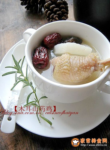 冬日里驱寒暖身滋补汤水木耳山药土鸡汤的做法图解3